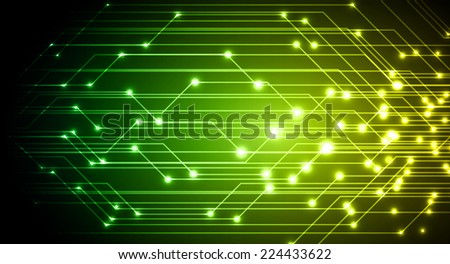 Dark green yellow Light Abstract Technology background for computer graphic website and internet, circuit board. Sound waves.