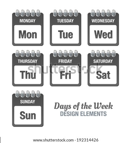 Dark grey icons with titles of days of the week isolated on white background - stock vector