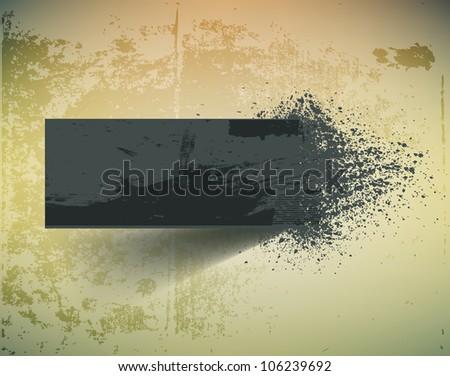 Dark grunge ink splash banner. - stock vector