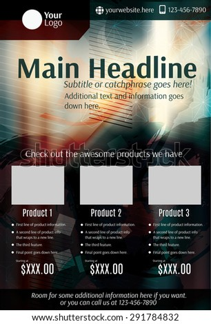 Dark grunge product flyer or poster template - stock vector