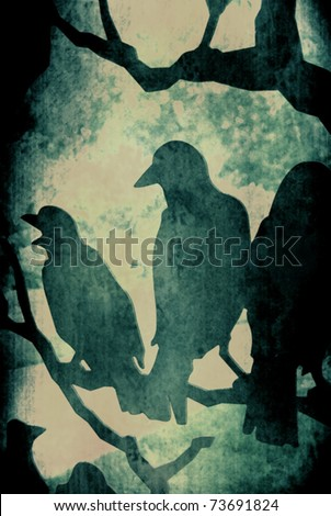 Dark Grunge Vector Ravens on Tree - stock vector