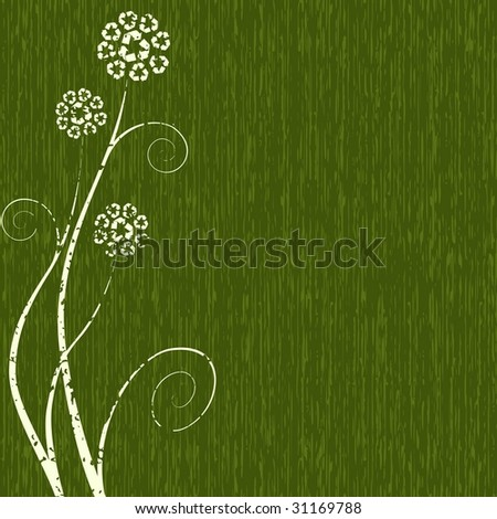 Dark grungy Recycling-flower concept (vector); a JPG version is also available - stock vector