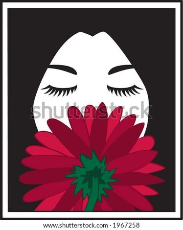 Dark haired girl smelling a red flower - stock vector