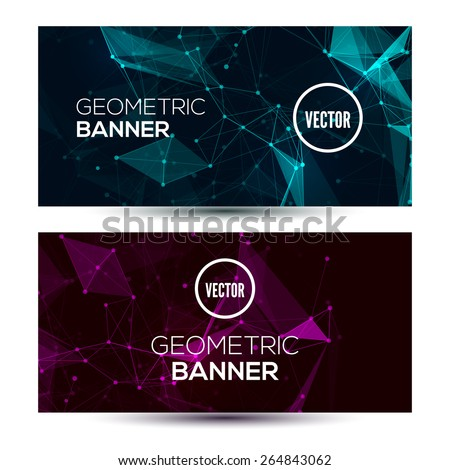 Dark horizontal abstract geometric, low poly, polygonal banners template design.  - stock vector