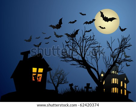 Dark house in the night with bats - stock vector
