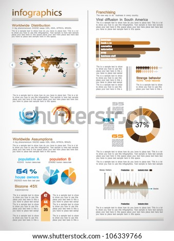 Dark Infographics page with a lot of design elements like chart, globe, icons, graphics, maps, cakes, human shapes and so on. Ideal for business analysis representation.