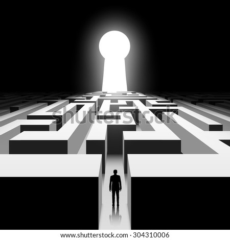 Dark labyrinth. Silhouette of man. Stock vector image. - stock vector
