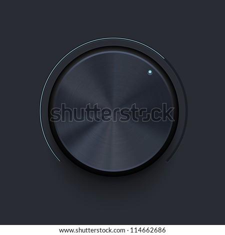 Dark metallic knob - stock vector