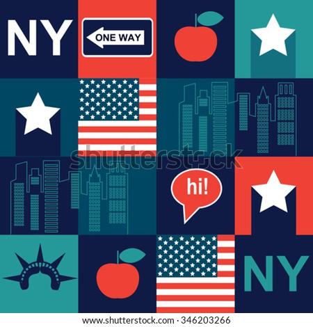 dark New York pattern - stock vector