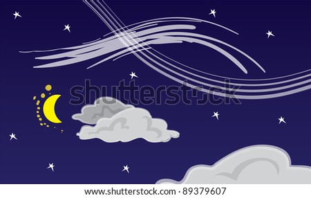 Dark night sky with moon and clouds.