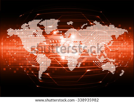 Dark orange color Light Abstract Technology background for computer graphic website internet and business. circuit. vector illustration. infographics. motion move blur.neon. pixel. World Map, Global - stock vector
