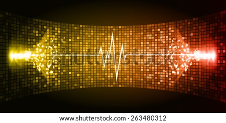 Dark orange Sound wave background suitable as a backdrop for music, technology and sound projects. Blue Heart pulse monitor with signal. Heart beat. - stock vector