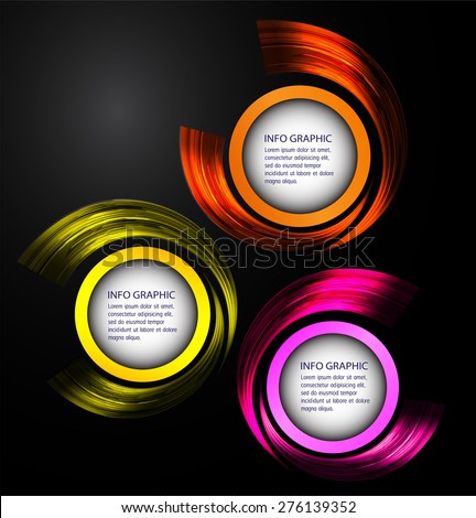 Dark orange yellow pink circle Light Abstract Technology background for computer graphic website internet  business. text box. Brochure. card. black background - stock vector