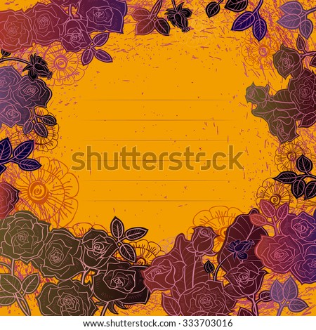 Dark painted roses on a bright yellow background. The strokes in a circle. The lines to record in the middle. - stock vector