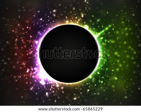 Dark planet, surrounded by bright and blurry stars. Rainbow colors are used. - stock vector