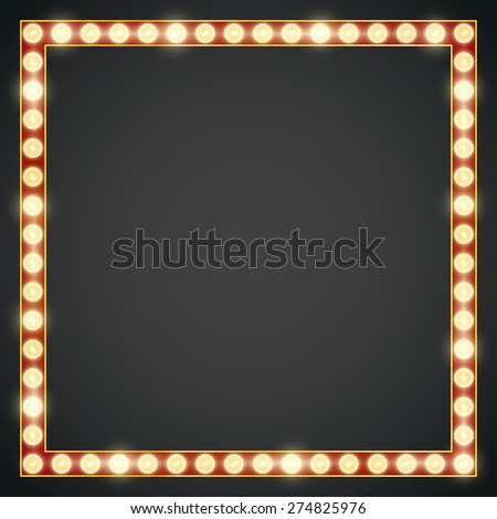 Dark red gold colored vector retro looks frame template. Lamps lighted vector illustration - stock vector
