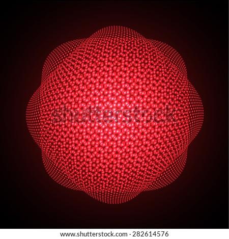 Dark red Shining atom scheme. Vector illustration. dark background. digital. infographics. Abstract Technology background for computer graphic website internet - stock vector
