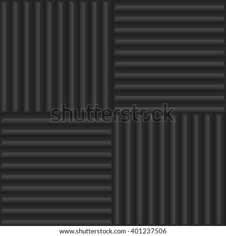 Dark relief material texture pattern background like a  soundproofing material. Abstract geometric lines. Vector illustration