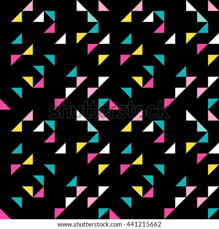 Dark retro polygonal vector seamless pattern like a kaleidoscope