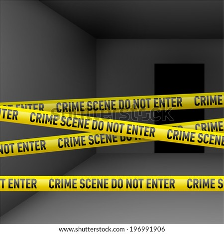 Dark room  with police danger tape. Crime or emergency scene