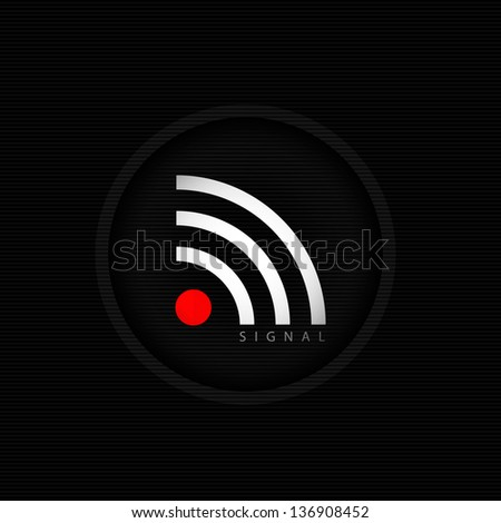 Dark rss icon. - stock vector
