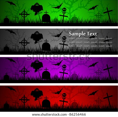 dark scary abstract halloween banners. Vector illustration - stock vector