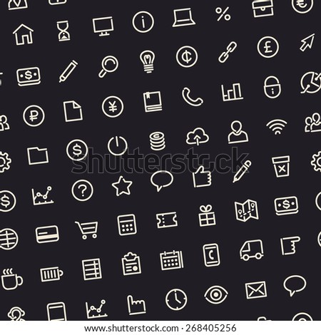 Dark Seamless Business Background with Line Icons. Editable Pattern in Swatches.