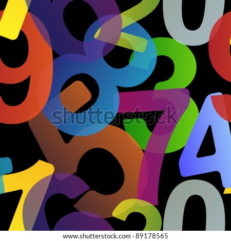 Dark seamless pattern made from transparent colorful numbers - stock vector