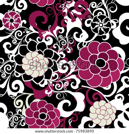 Dark seamless vector texture with pink and violet flowers and white pattern - stock vector