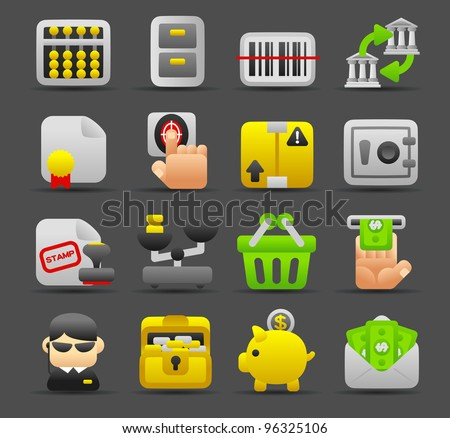 Dark series   Accounting,banking,finance icon set - stock vector