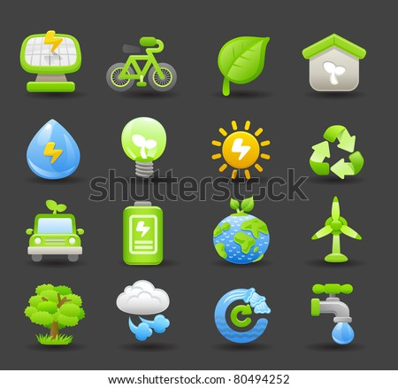 Dark series | eco icon - stock vector
