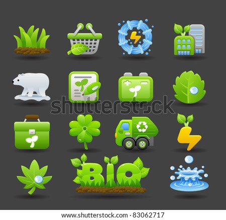 Dark series | eco icons - stock vector