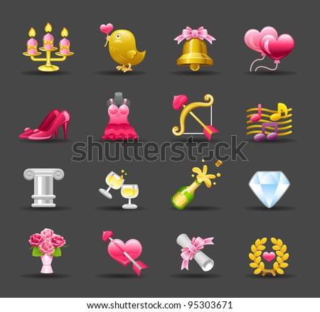 Dark Series   wedding,love,valentine icon set - stock vector