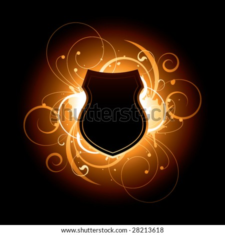 dark shield on a floral background - stock vector