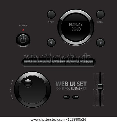 Dark Shiny Web UI Elements. Buttons, Switches, bars, power buttons, sliders. Part two. Vector illustration - stock vector