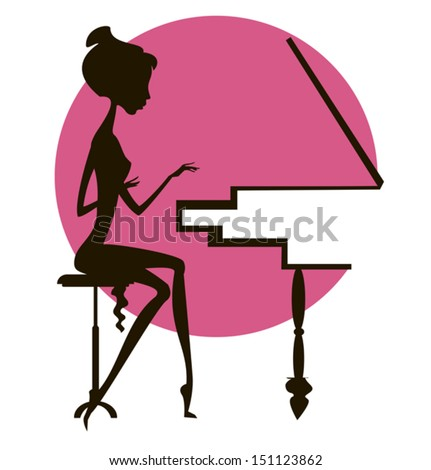 Dark silhouette of the girl playing the piano, against a red circle - stock vector