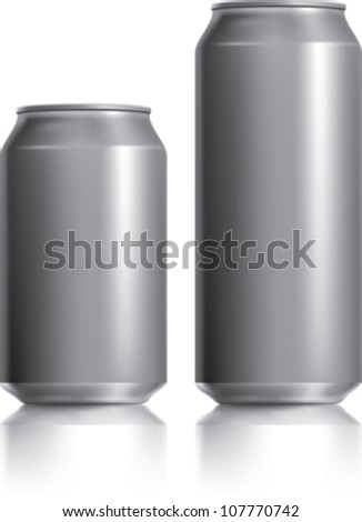 Dark silver can vector visual 330 ml & 500 ml ideal for beer, lager, alcohol, soft drink, soda, fizzy pop, lemonade, cola, energy drink, juice, water. Drawn with mesh tool. Fully adjustable & scalable - stock vector