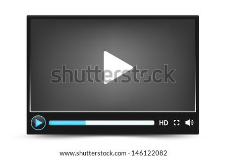 Dark skin of web video player vector interface