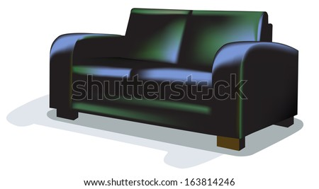 Dark Sofa over white.  - stock vector