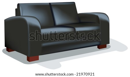 Dark Sofa over white backgrund - stock vector