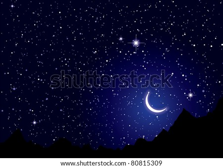 Dark space nights sky with silhouette mountains - stock vector