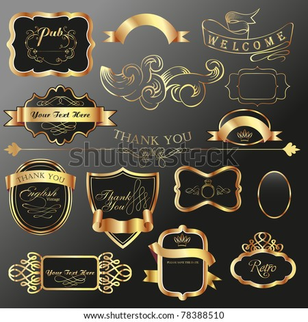dark tone vintage label tags collections - stock vector