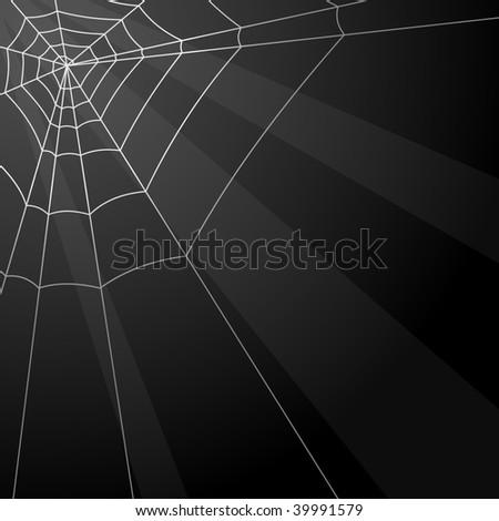 Dark vector background with spider web in the corner. - stock vector