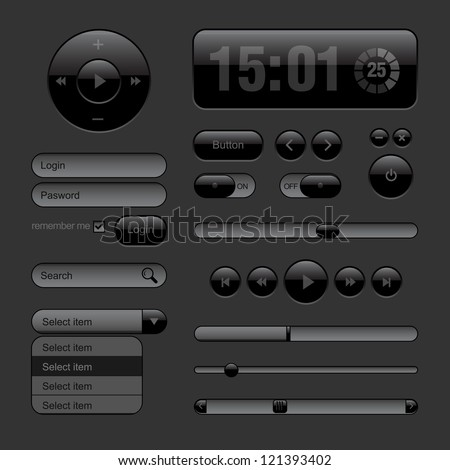 Dark Web UI Elements. Buttons, Switches, bars, power buttons, sliders. Part two. Vector illustration - stock vector