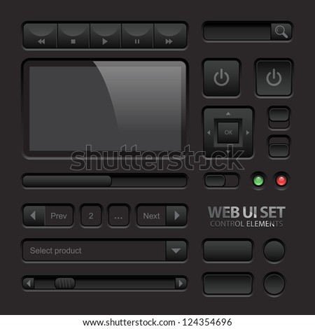 Dark Web UI Elements. Buttons, Switches, bars, power buttons, sliders. Vector illustration - stock vector