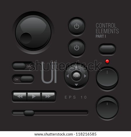 Dark Web UI Elements Design Gray. Buttons, Switches, bars, power buttons, sliders. Part one