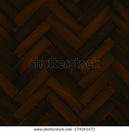 Dark wooden floor realistic herringbone parquet seamless background, vector - stock vector