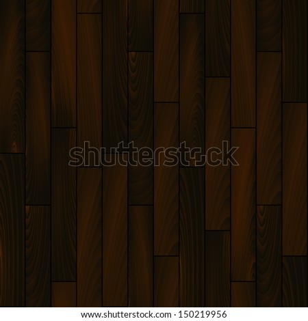 Dark wooden floor realistic seamless background, vector. Includes clipping mask for more edit options, - stock vector