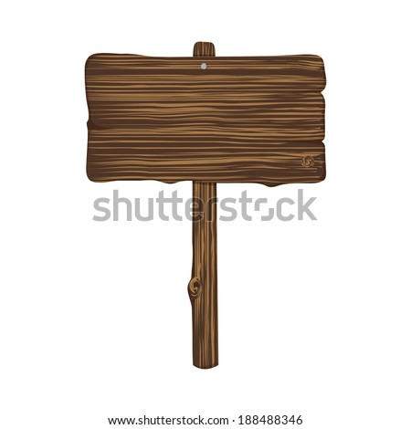 Dark wooden sign isolated on white background in vector - stock vector