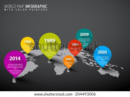 Dark World map with pointer marks -  communication concept - stock vector